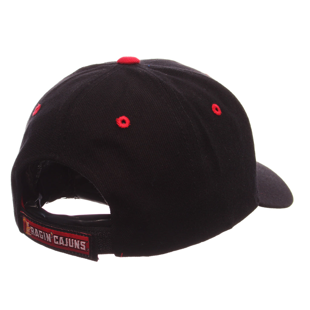 Louisiana (Lafayette) Competitor Standard (Low) (PEPPER) Black Zwool Adjustable hats by Zephyr