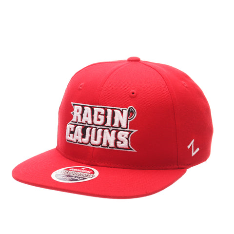 Louisiana (Lafayette) Z11 32/5 (High) (RAGIN'/CAJUNS) Scarlet Zwool Adjustable hats by Zephyr