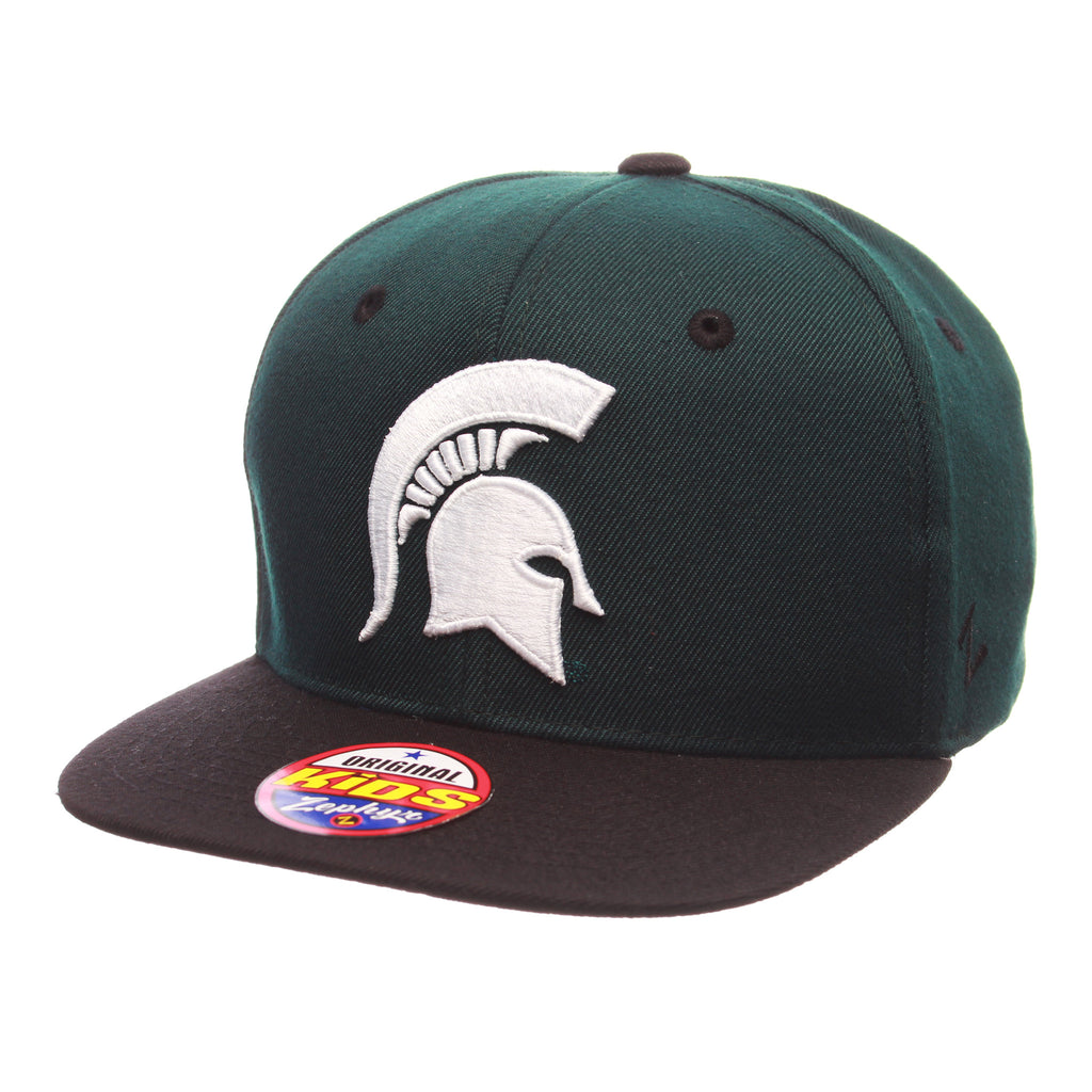 Michigan State University Z11 Youth 32/5 Youth (SPARTAN) Forest Dark Zwool Adjustable hats by Zephyr