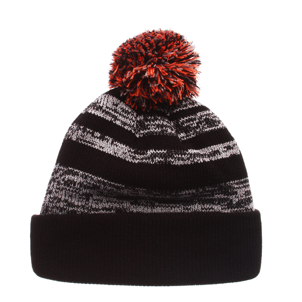 Miami Black Baron Knit (Fold) (SPLIT U) Black/White/Gray Confederate Knit Adjustable hats by Zephyr