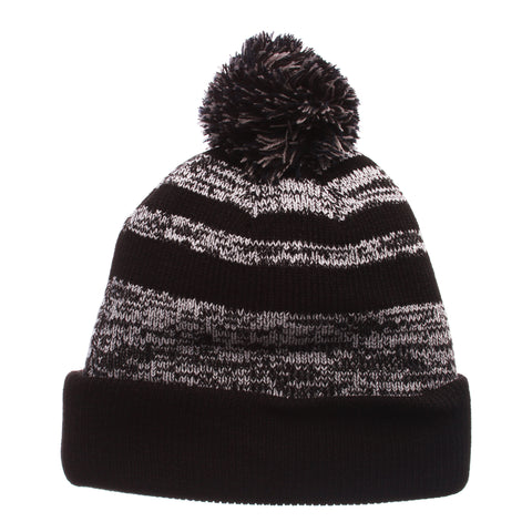 Michigan Black Baron Knit (Fold) (M) Black/White/Gray Confederate Knit Adjustable hats by Zephyr