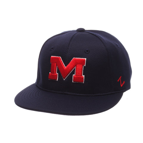 Mississippi Custom Zfit Mid (Medium) (M) Navy Vapor Tech Stretch Fit hats by Zephyr