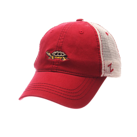 Maryland Dad Hat Standard (Low) (TERRAPIN) Red Dark Washed Adjustable hats by Zephyr