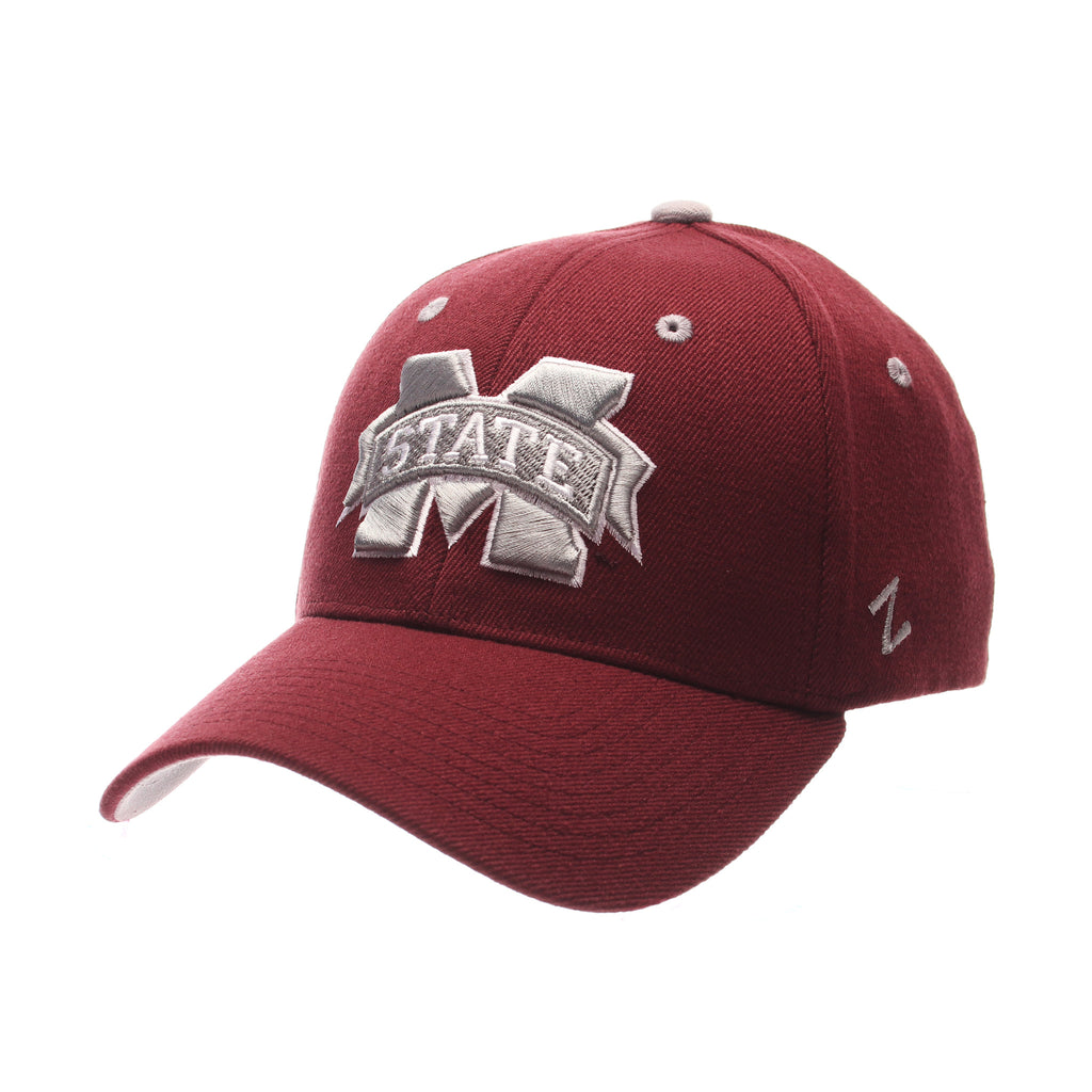 Mississippi State University ZHS (M W/STATE) Maroon Zwool Stretch Fit hats by Zephyr