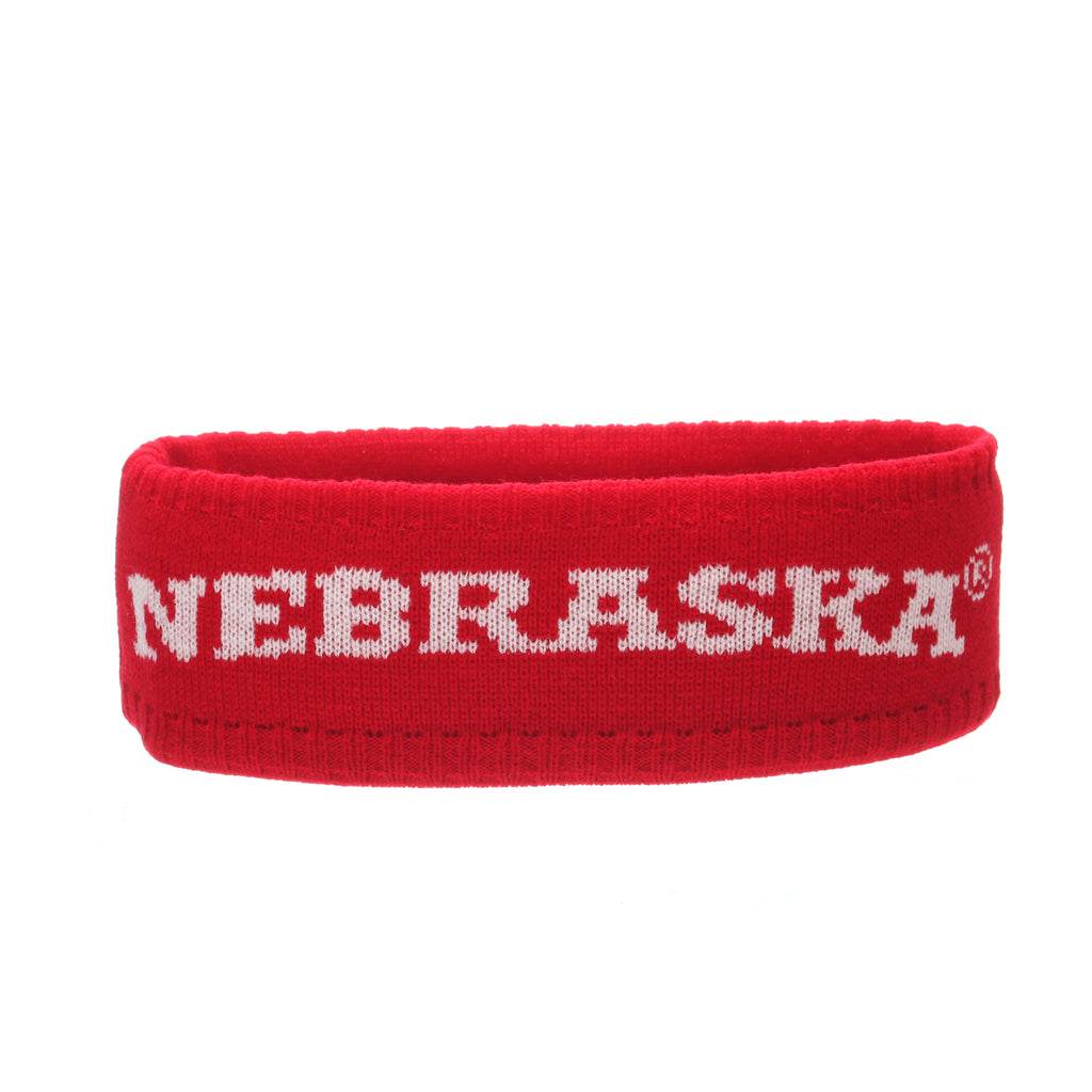 Nebraska (Lincoln) Halo Knit (Other) (NEBRASKA) Red/White Knit Adjustable hats by Zephyr