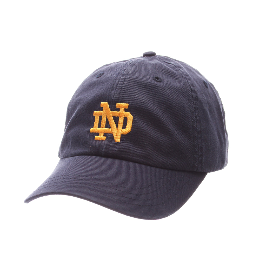 Notre Dame Dad Hat NCAA Standard (Low) (ND) Navy Dark Washed Adjustable hats by Zephyr