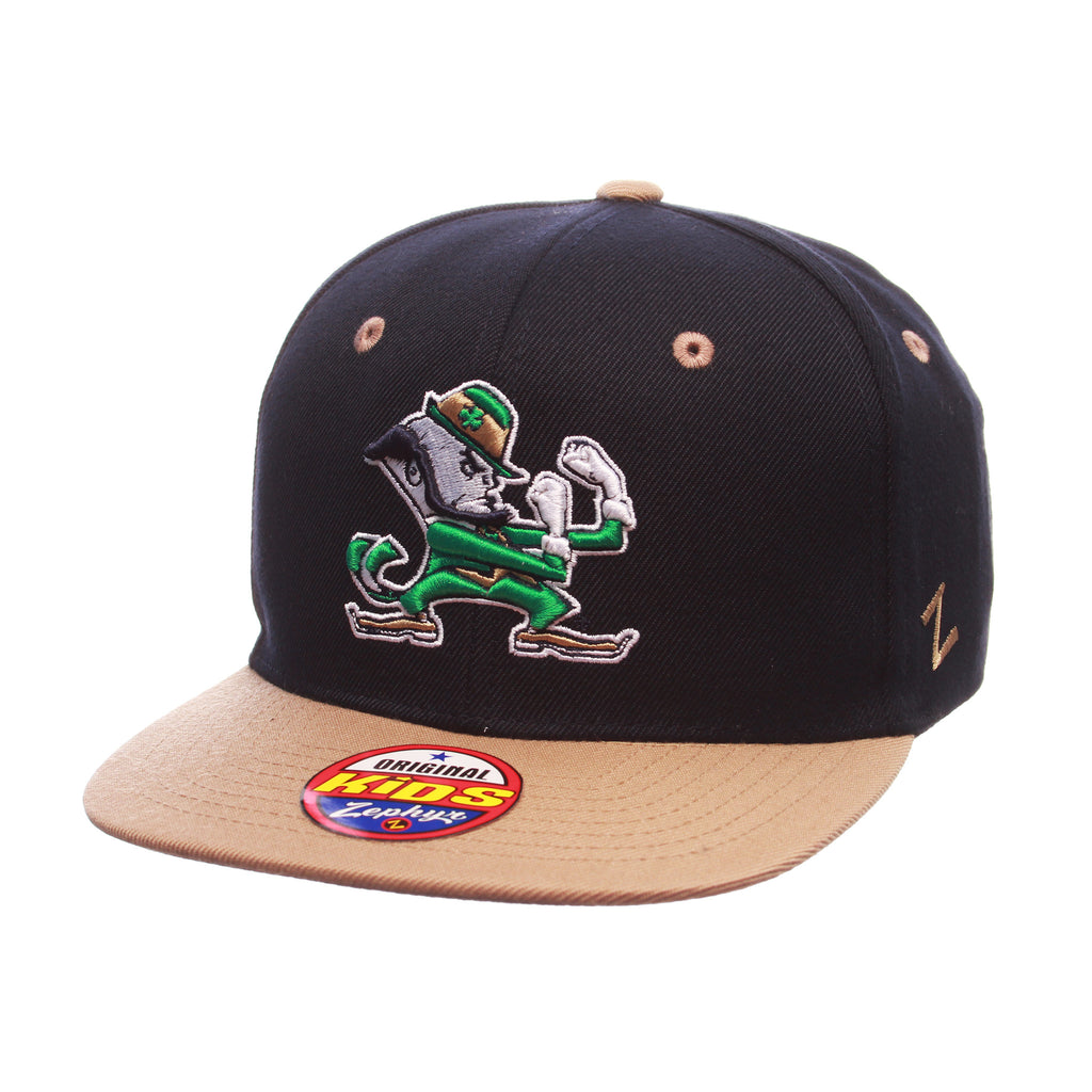 Notre Dame Z11 Youth 32/5 Youth (LEPRECHAUN) Navy Dark Zwool Adjustable hats by Zephyr