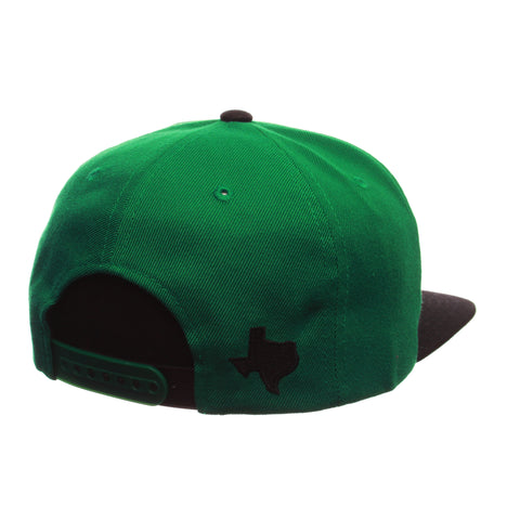 North Texas Custom Adj 32/5 (High) (EAGLE FLAG) Green Kelly Zwool Adjustable hats by Zephyr