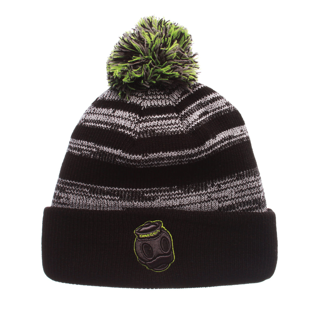 Oregon Black Baron Knit (Fold) (DUCK HEAD) Black/White/Gray Confederate Knit Adjustable hats by Zephyr