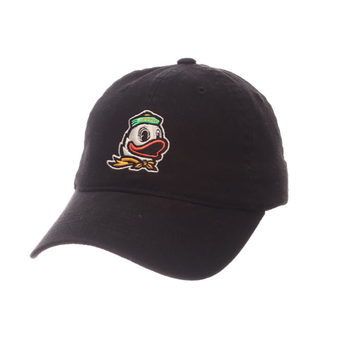 Oregon Dad Hat NCAA Standard (Low) (DUCK W/SCARF) Black Washed Adjustable hats by Zephyr