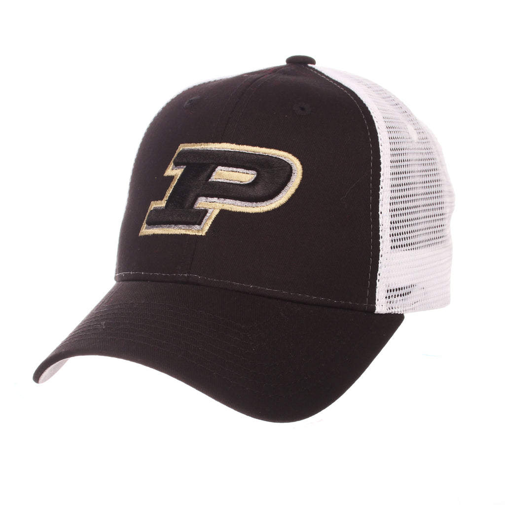 Purdue University (West Lafayette) Big Rig (P) Black 100% Cotton Twill Adjustable hats by Zephyr