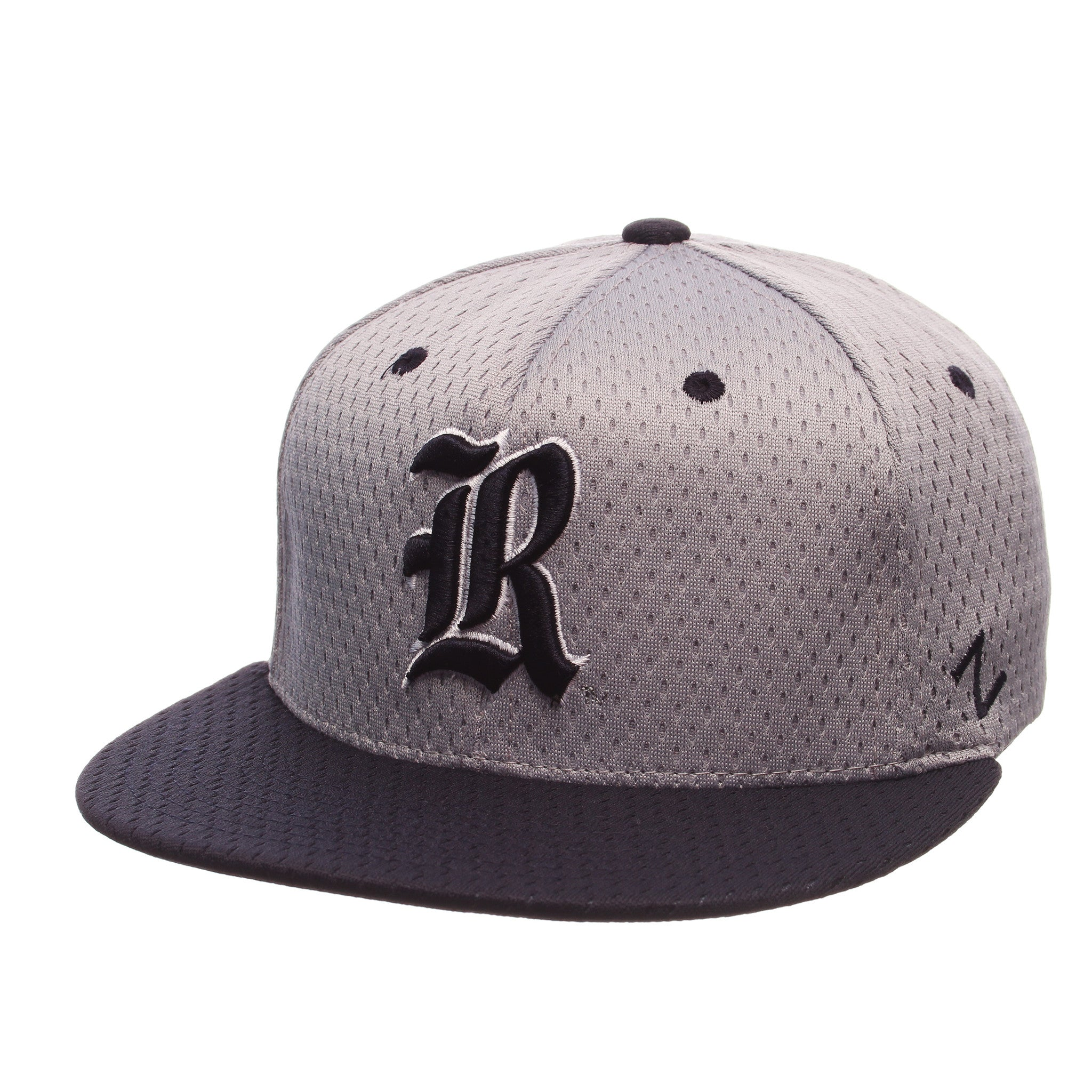 Rice University Custom Zfit Mid (Medium) (R) Gray Light Jersey Stretch Fit hats by Zephyr