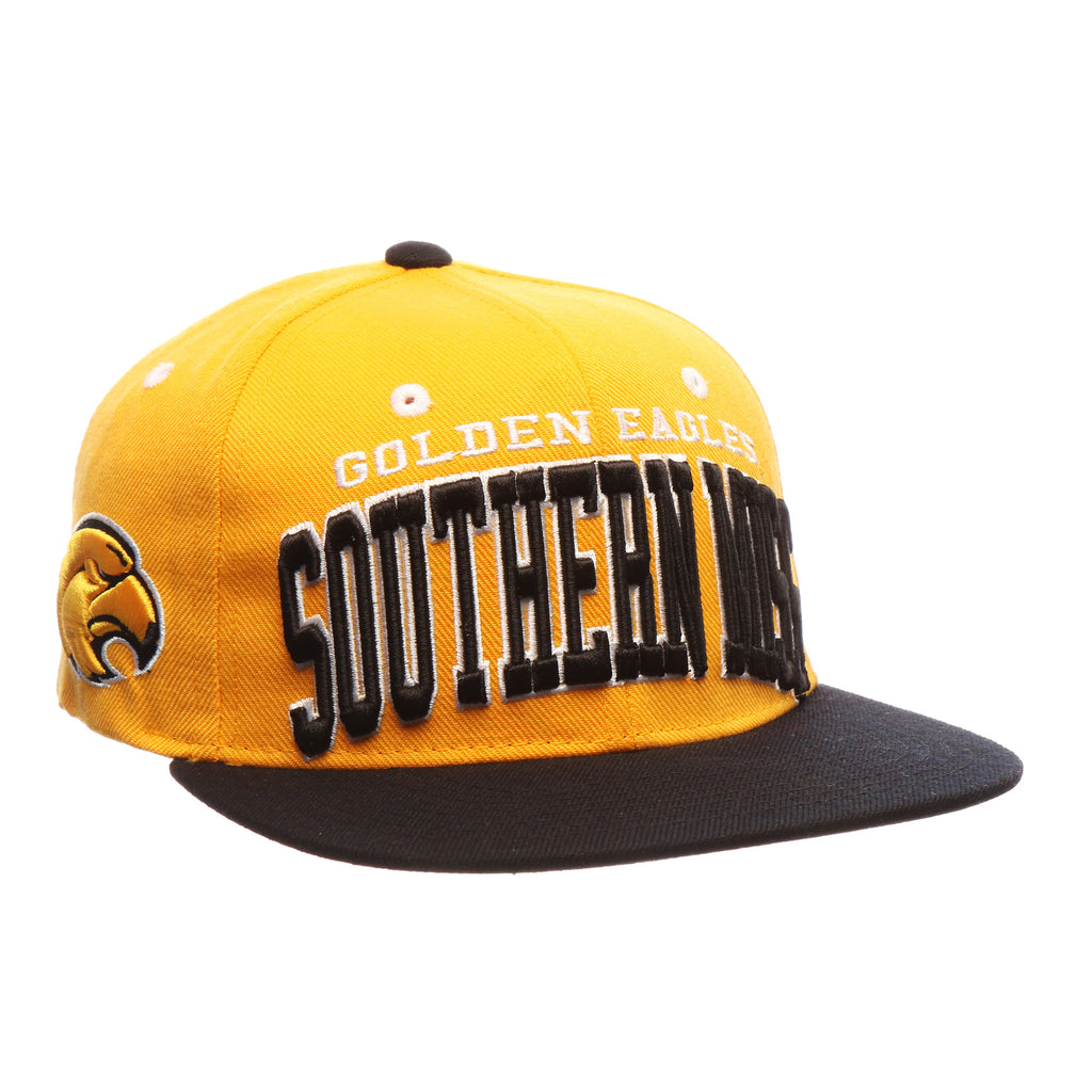 Southern Mississippi Super Star 32/5 (High) (GOLDEN EAGLES/SOUTHERN MISS) Gold Zwool Adjustable Snapback hats by Zephyr