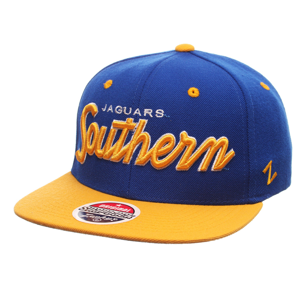 Southern University Headliner 32/5 (High) (JAGUARS/SOUTHERN) Royal Surf Zwool Adjustable Snapback hats by Zephyr
