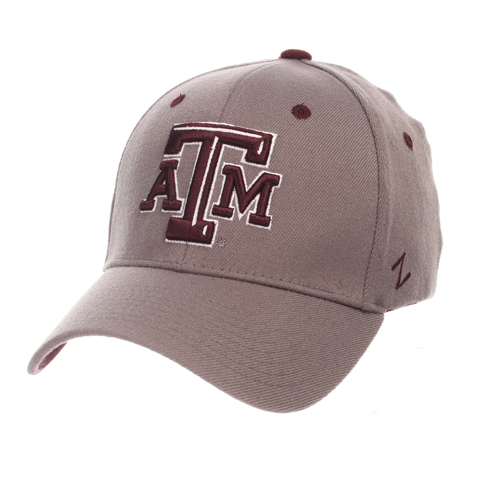 Texas A&M University ZH (ATM) Gray Medium Zwool Stretch Fit hats by Zephyr