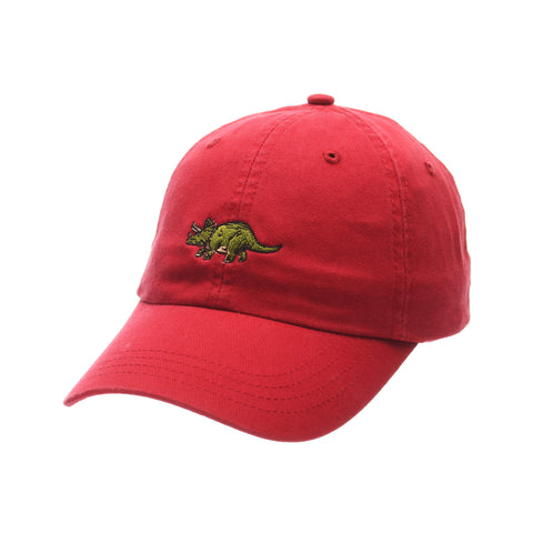 No Royalties Dad Hat (TRICERATOPS) Red Washed Adjustable hats by Zephyr