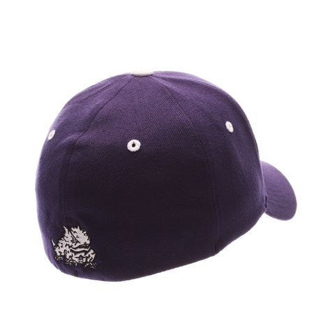 Texas Christian University ZH Standard (Low) (TCU) Purple Dark Zwool Stretch Fit hats by Zephyr