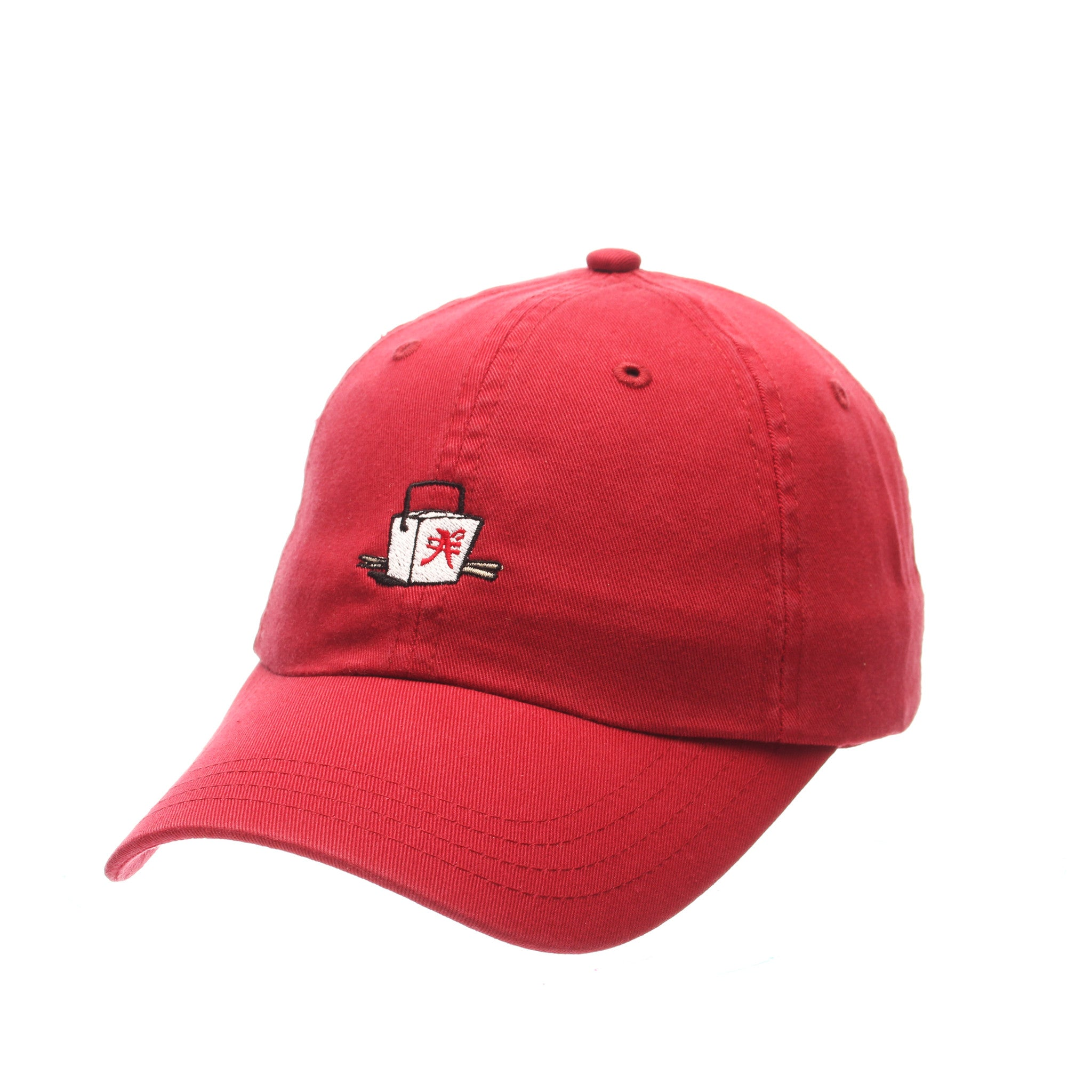 Dad Hat (BOX W/CHOPSTICKS) Red Washed Adjustable hats by Zephyr