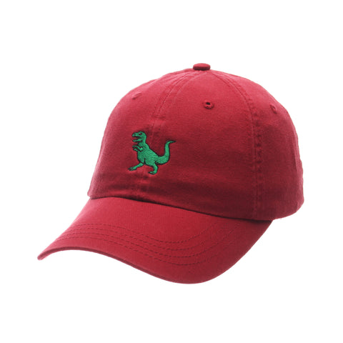 No Royalties Dad Hat (T REX) Cardinal Washed Adjustable hats by Zephyr