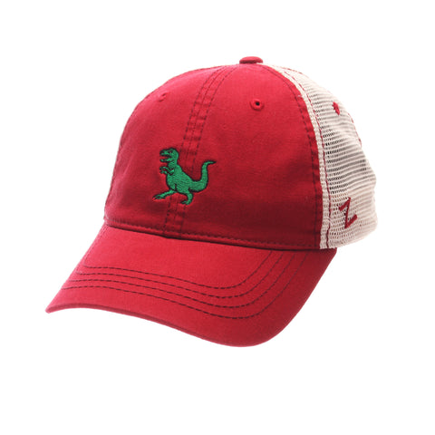 Dad Hat Standard (Low) (T REX) Red Dark Washed Adjustable hats by Zephyr