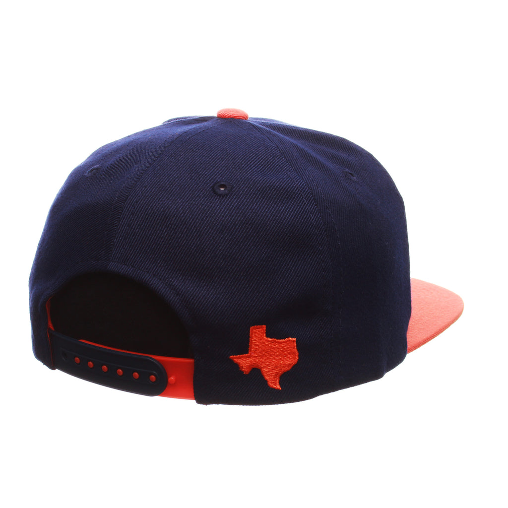 Texas (San Antonio) Custom Adj 32/5 (High) (ROADRUNNER FLAG) Navy Zwool Adjustable hats by Zephyr