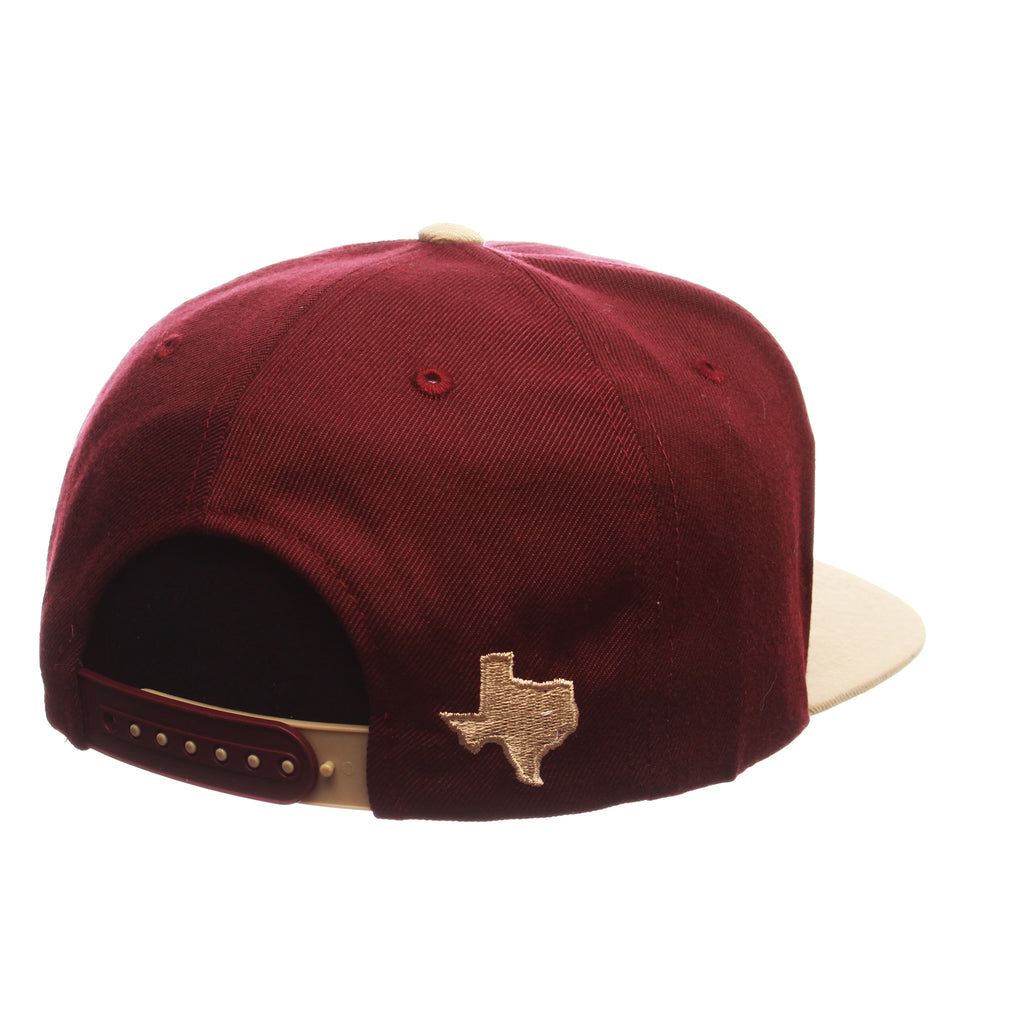 Texas State University Custom Adj 32/5 (High) (BOBCAT FLAG) Maroon Zwool Adjustable hats by Zephyr