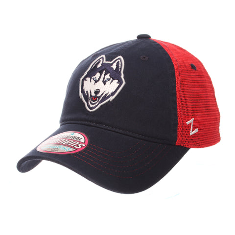 Connecticut (UCONN) Glimmer Womens (HUSKY) Navy Dark Washed Adjustable hats by Zephyr