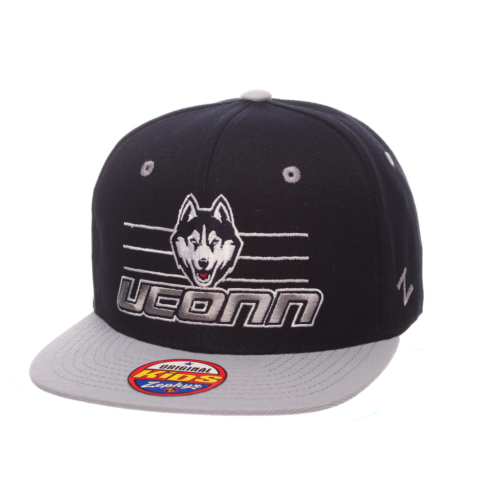Connecticut (UCONN) Slide 32/5 Youth (HUSKY/UCONN/LINES) Navy Dark ZClassic Adjustable hats by Zephyr