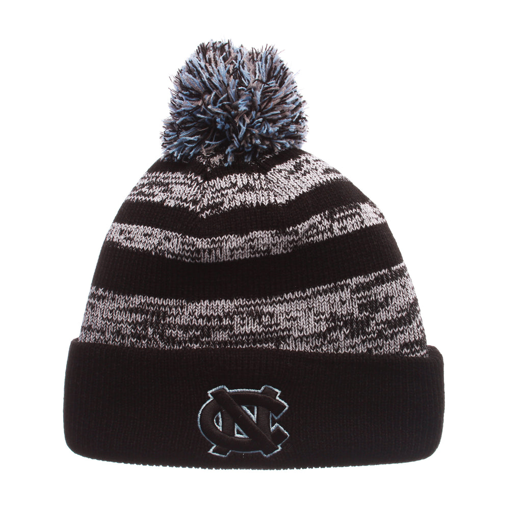North Carolina (Chapel Hill) Black Baron Knit (Fold) (NC) Black/White/Gray Confederate Knit Adjustable hats by Zephyr