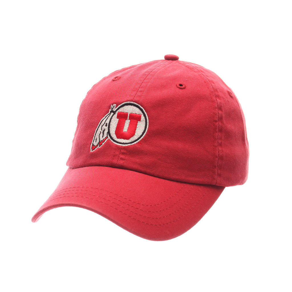 Utah Dad Hat NCAA Standard (Low) (U FEATHER) Red Washed Adjustable hats by Zephyr