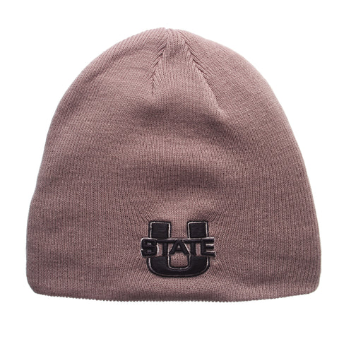 Utah State University Edge Knit (Short) (U STATE) Gray Light Knit Adjustable hats by Zephyr