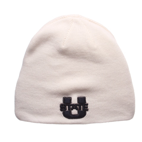 Utah State University Edge Knit (Short) (U STATE) White Knit Adjustable hats by Zephyr