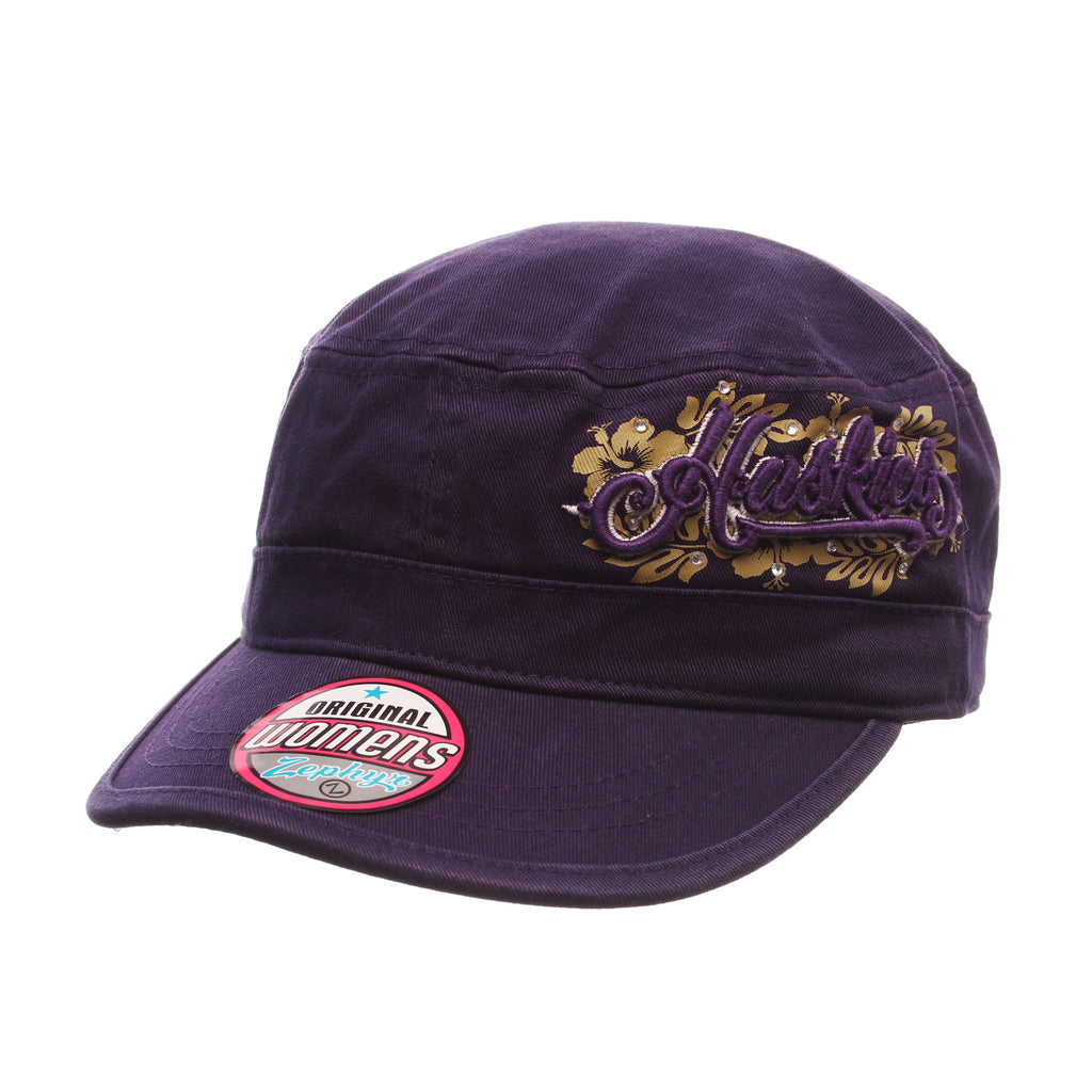 Washington Cabana Military (HUSKIES/FLOWER DESIGN) Purple Dark Washed Adjustable hats by Zephyr