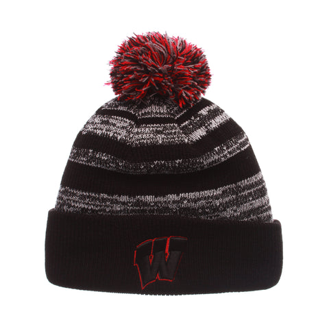 Wisconsin (Madison) Black Baron Knit (Fold) (W) Black/White/Gray Confederate Knit Adjustable hats by Zephyr