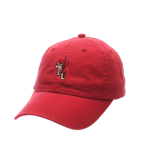 Dad Hat (WORM W/HOOK) Red Washed Adjustable hats by Zephyr