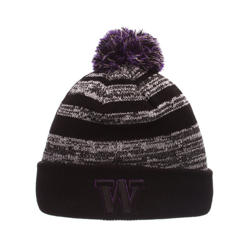 Washington Black Baron Knit (Fold) (W) Black/White/Gray Confederate Knit Adjustable hats by Zephyr