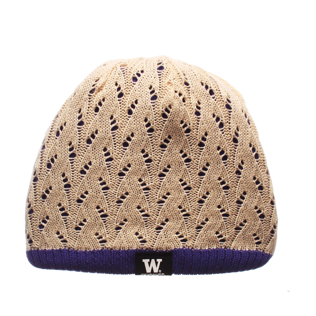 Washington Crochet Knit (Short) (WASHINGTON LABEL) Violet/Stone_Golden Knit Adjustable hats by Zephyr