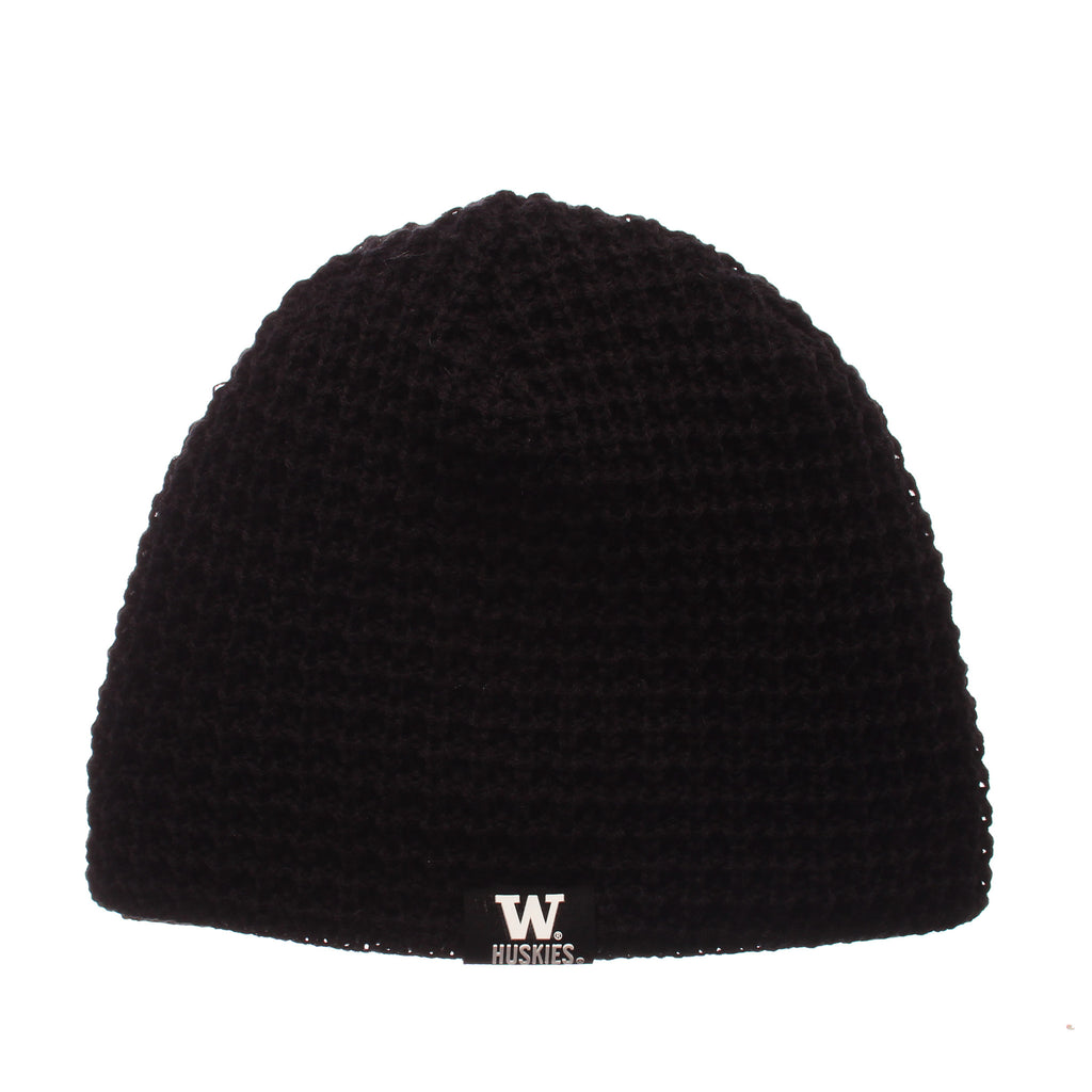 Washington Peterson Knit (Short) (WASHINGTON LABEL) Black Knit Adjustable hats by Zephyr