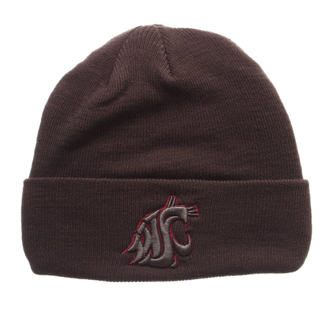 Washington State University Pop Knit Knit (Fold) (WSU CAT) Gray Confederate Knit Adjustable hats by Zephyr