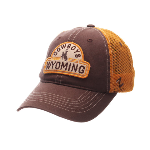 Wyoming Route Standard (Low) (COWBOYS/BUCKING HORSE/WYOMING) Brown Dark Washed Adjustable hats by Zephyr