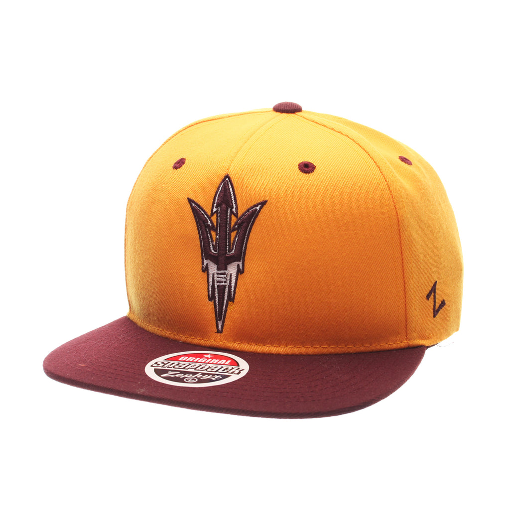 Arizona State University Z11 32/5 (High) (FLAMING FORK) Gold Zwool Adjustable hats by Zephyr