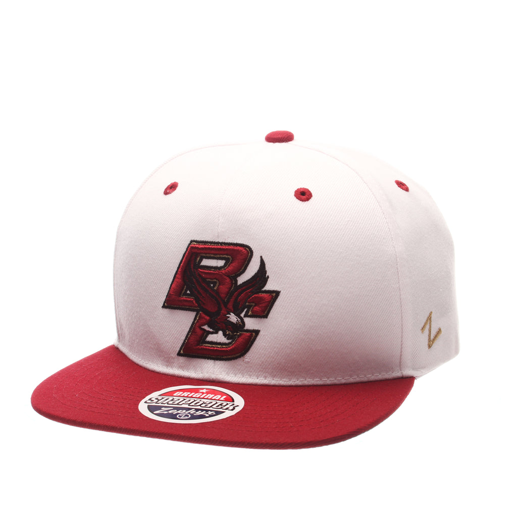 Boston College Z11 32/5 (High) (BC W/ EAGLE) White Zwool Adjustable hats by Zephyr