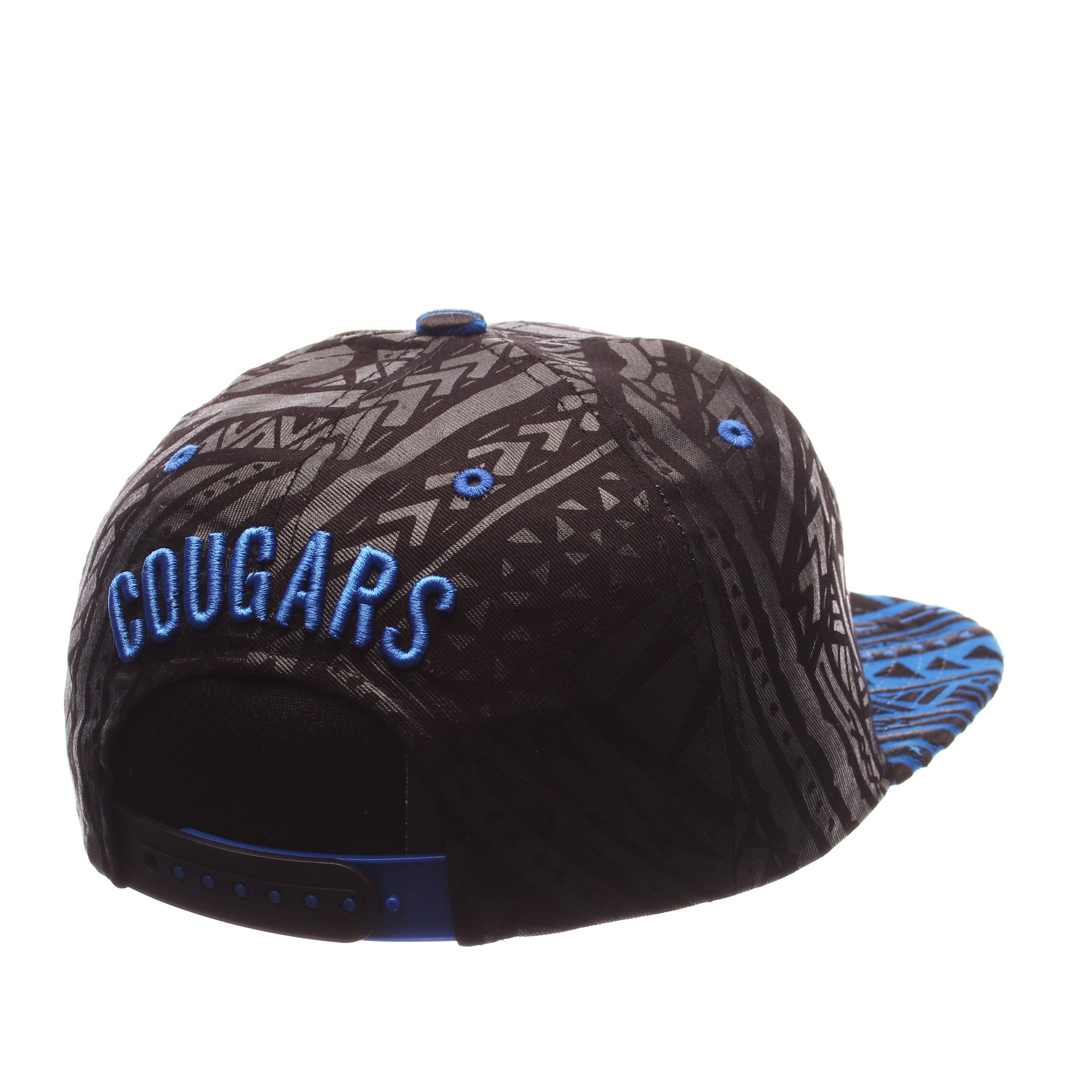 Brigham Young University Kahuku 32/5 (High) (ROYALBYU COUGAR/BYU) Black 100% Cotton Twill Adjustable hats by Zephyr
