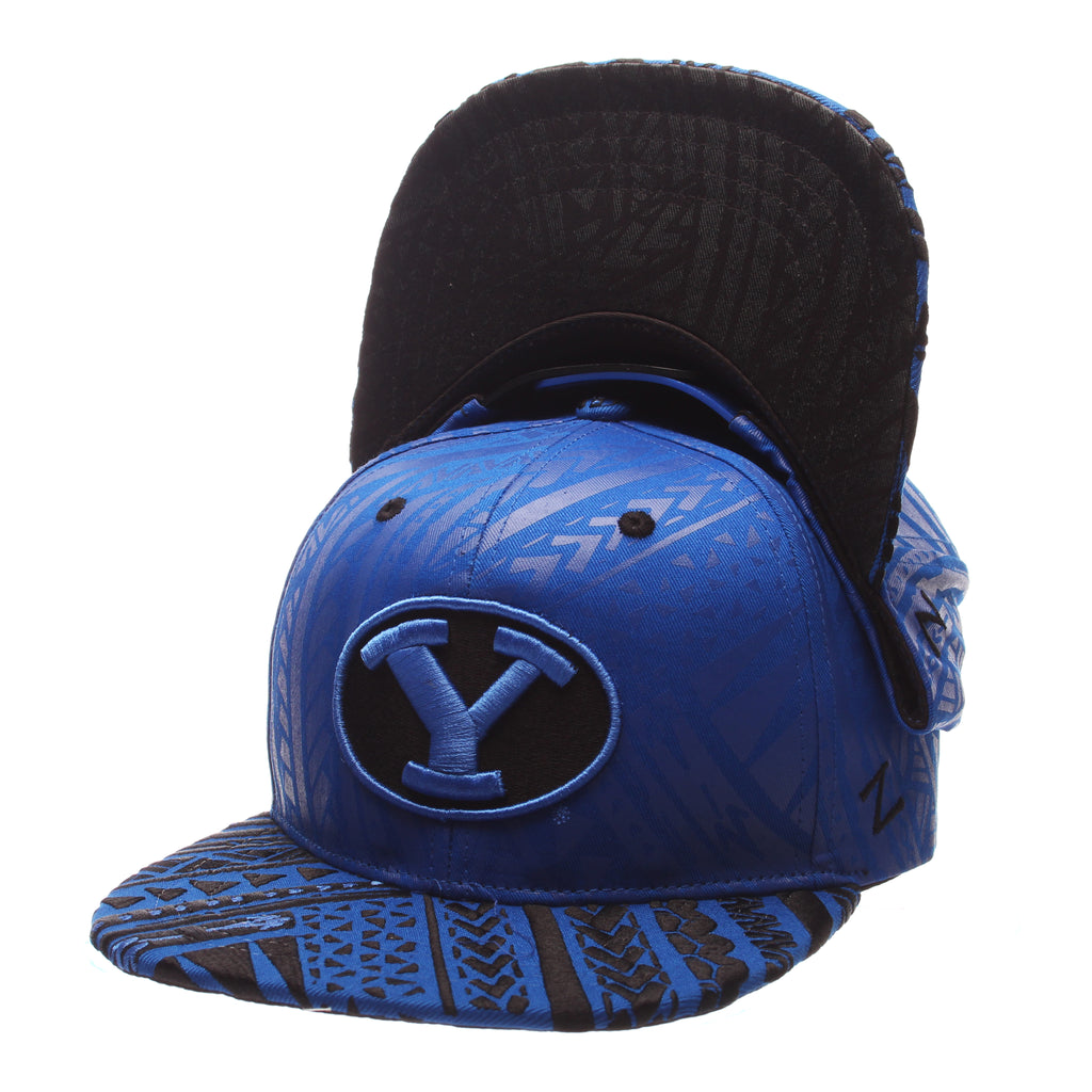 Brigham Young University Kahuku 32/5 (High) (Y OVAL) Royal Surf 100% Cotton Twill Adjustable hats by Zephyr