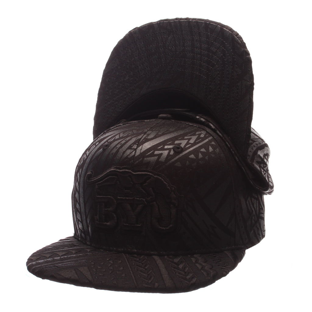 Brigham Young University Kahuku 32/5 (High) (ROYAL BYU COUGAR/BYU) Black 100% Cotton Twill Adjustable hats by Zephyr
