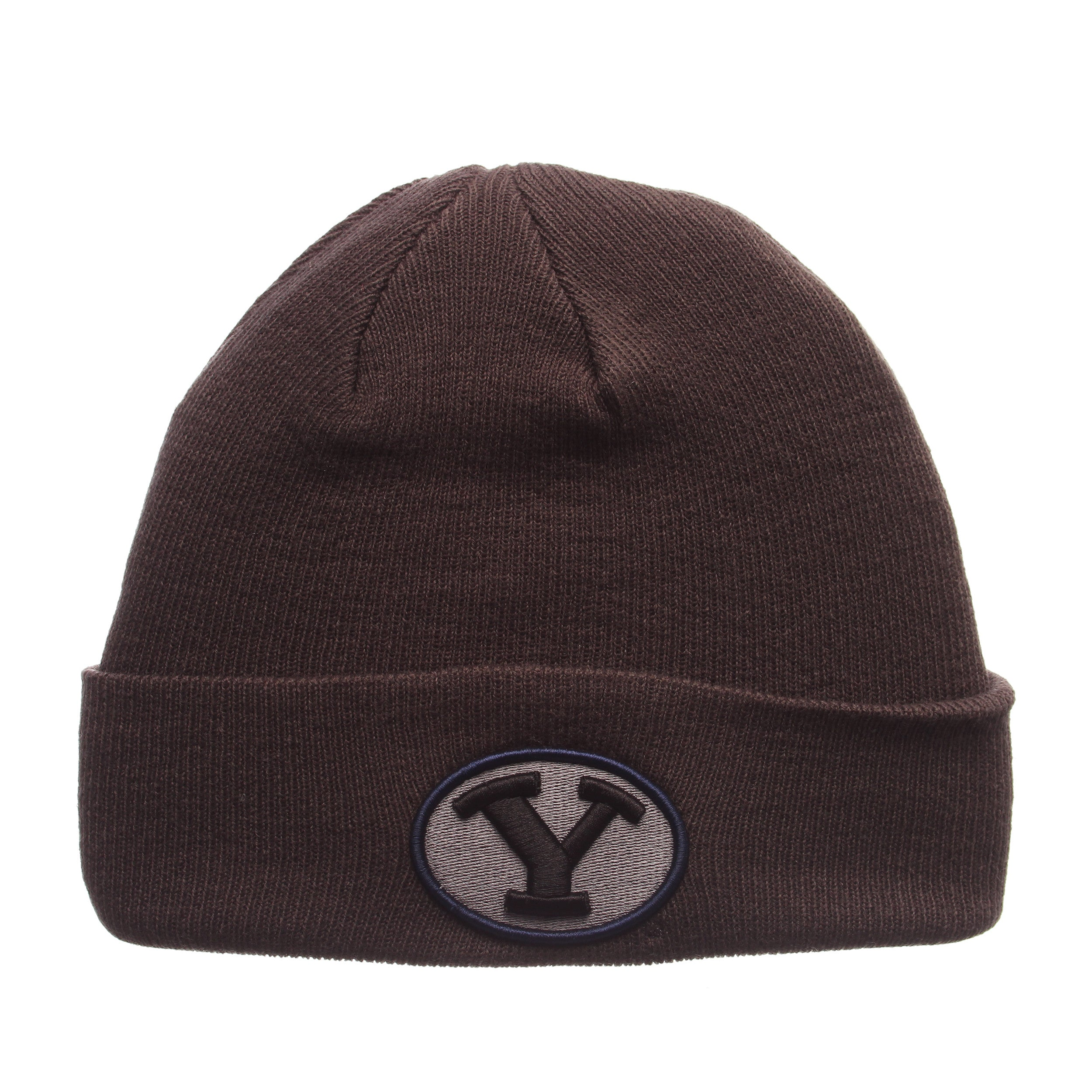 Brigham Young University Pop Knit Knit (Fold) (Y OVAL) Gray Confederate Knit Adjustable hats by Zephyr