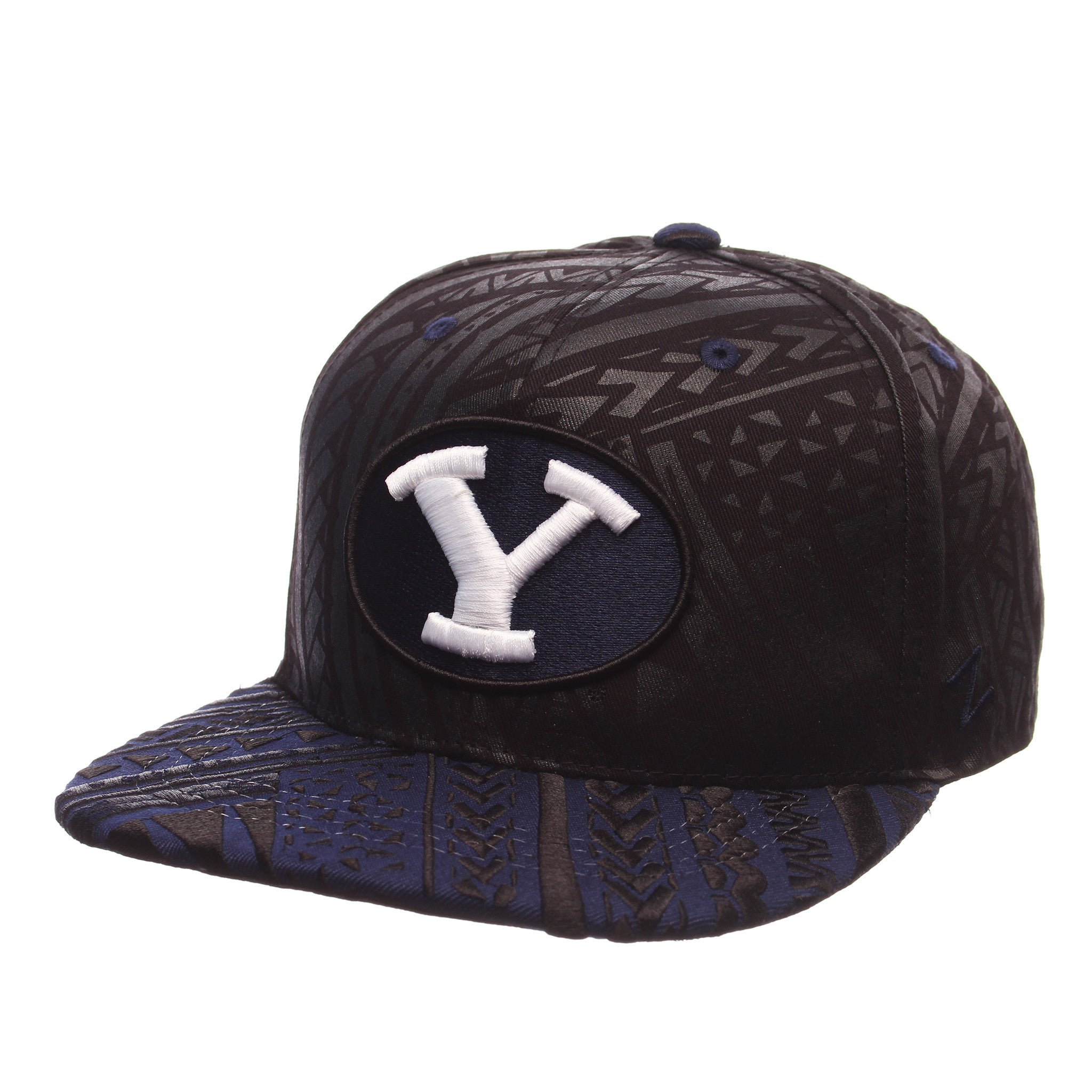 Brigham Young University Kahuku 32/5 (High) (Y OVAL) Black 100% Cotton Twill Adjustable hats by Zephyr