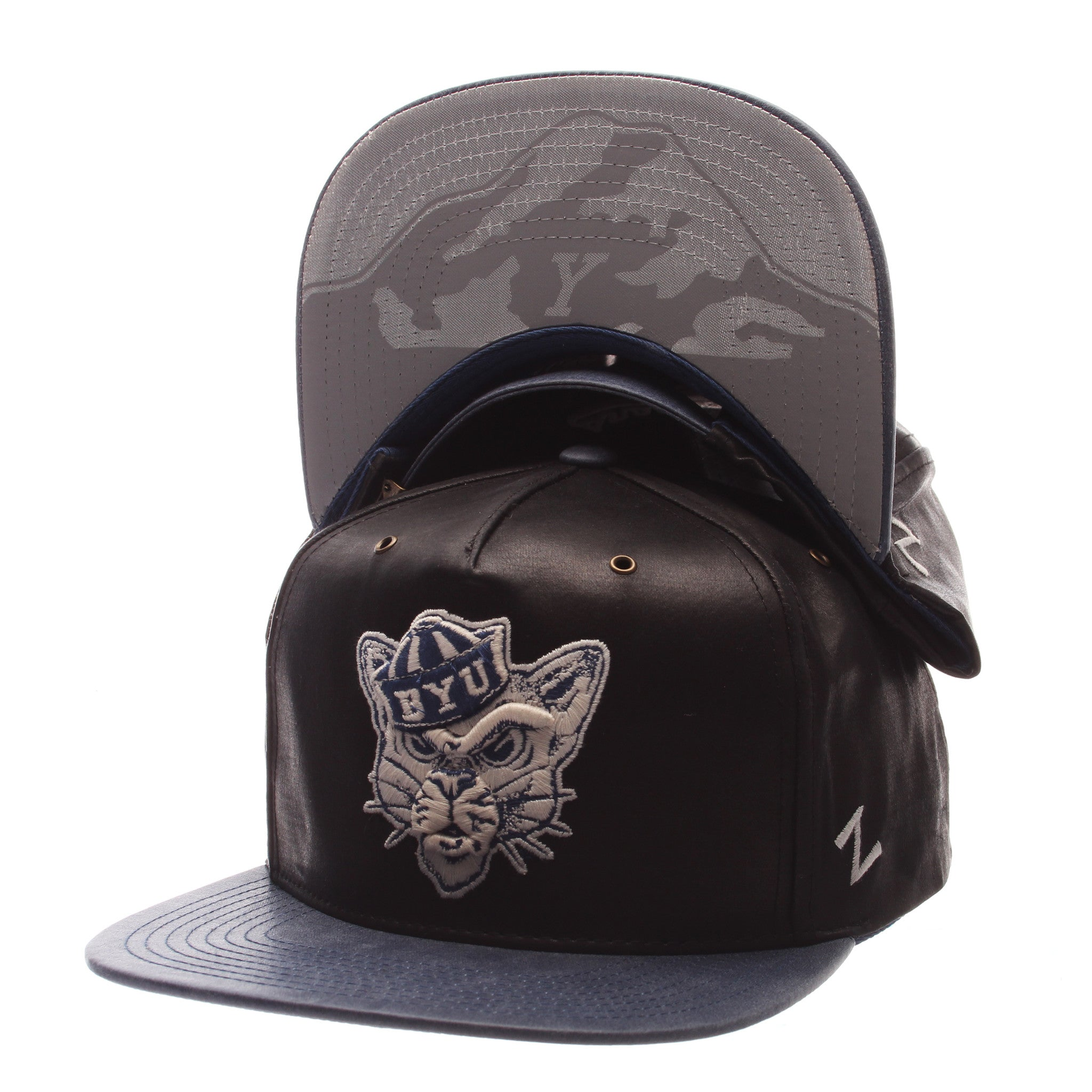 Brigham Young University Tribute 5 Pnl (VAULT COUGAR HEAD) Black Leather Adjustable hats by Zephyr