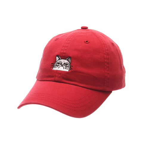 Dad Hat (MAD CAT) Red Washed Adjustable hats by Zephyr