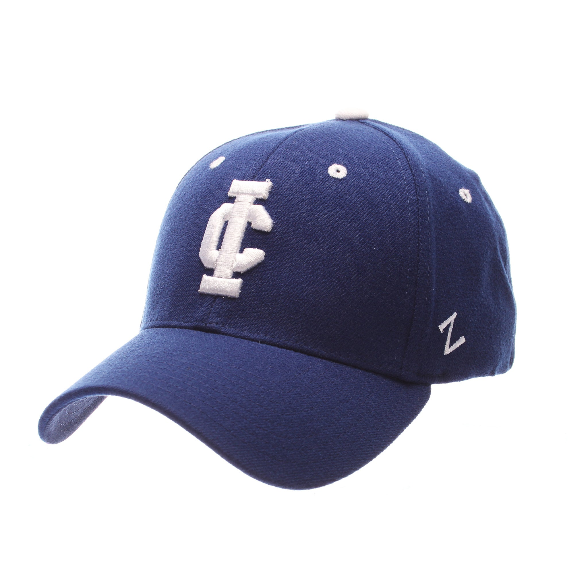 Illinois College (Jacksonville) ZH Standard (Low) (FTBL IC) Royal Dark Zwool Stretch Fit hats by Zephyr